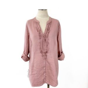 Boden- Neutral Pink Linen Ruffled Shirt Size 14